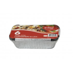 E-lite Style No.6A Aluminium Foil Containers With Lids (6 Pack)-Catering Disposables-Oh My Packaging